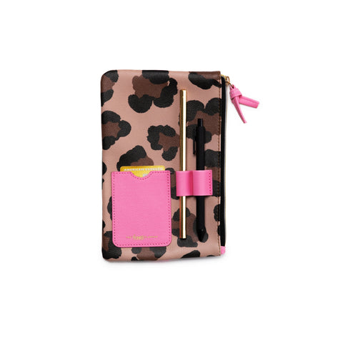 Leopard Classic Banded Pouch With Pen Loop