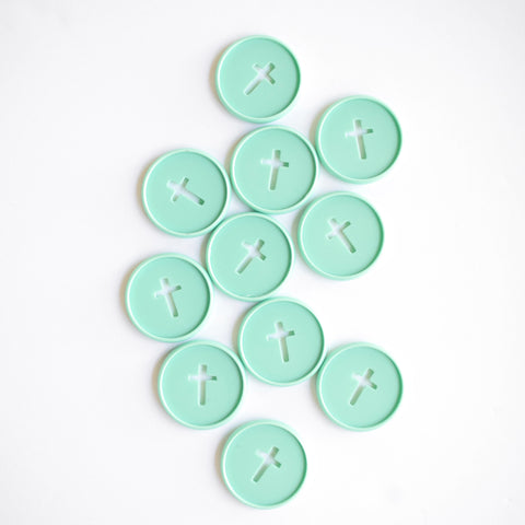 Cross Cutout Medium Disc Set - Teal