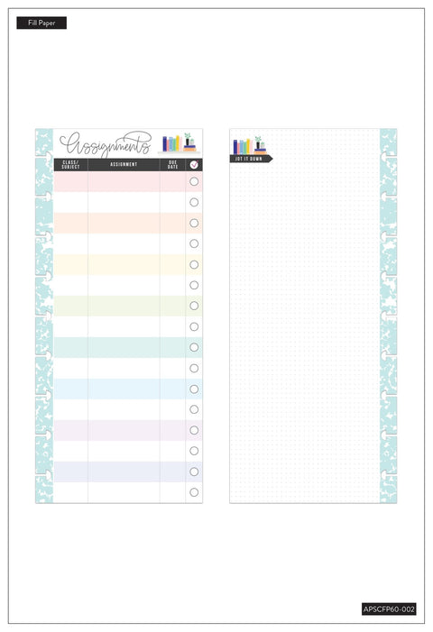 Classic Half Sheet Filler Paper - Rainbow Student Assignments