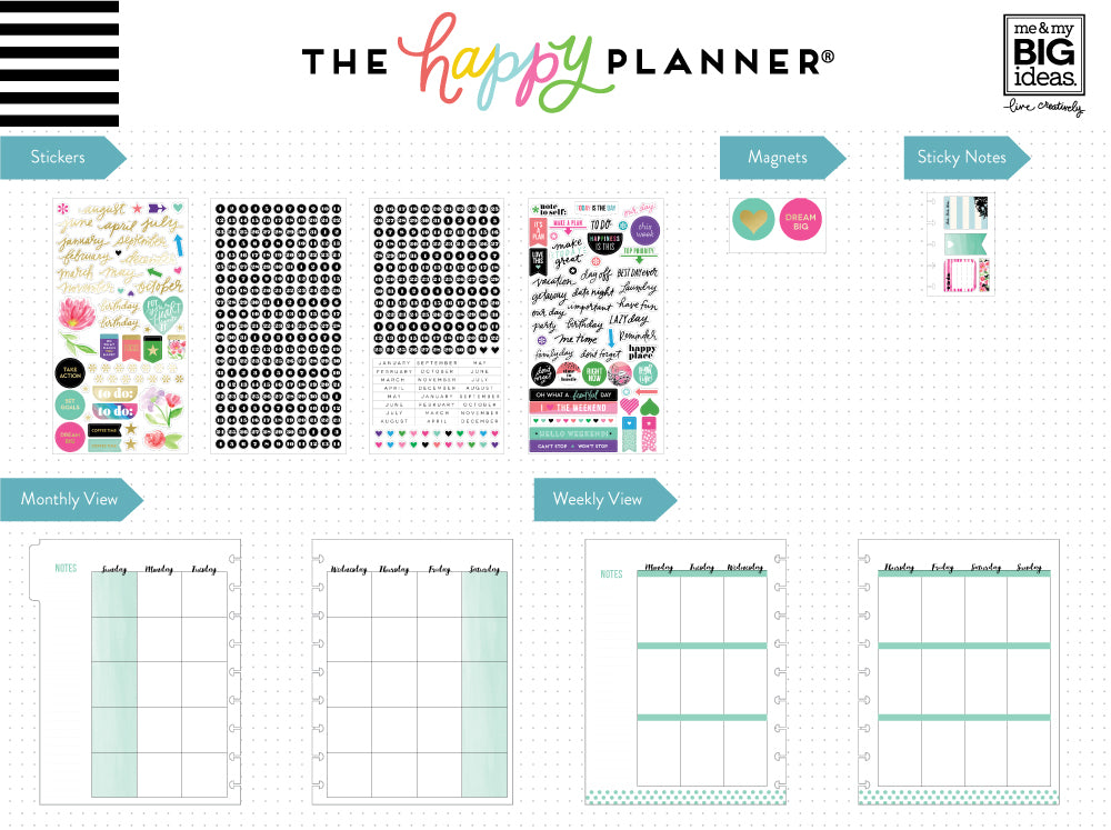 the happy planner 12 month box kit best year ever me my big ideas