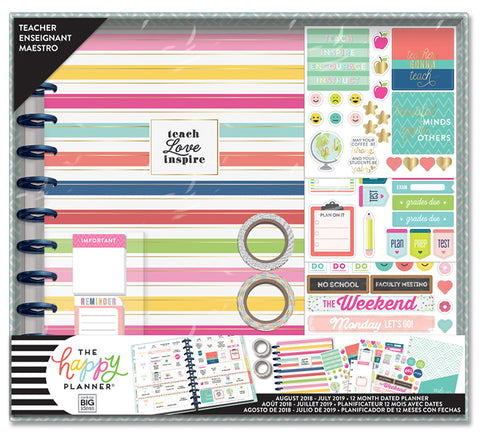 2018 - 2019 BIG Happy Planner® Box Kit - Simple Brights - Teacher