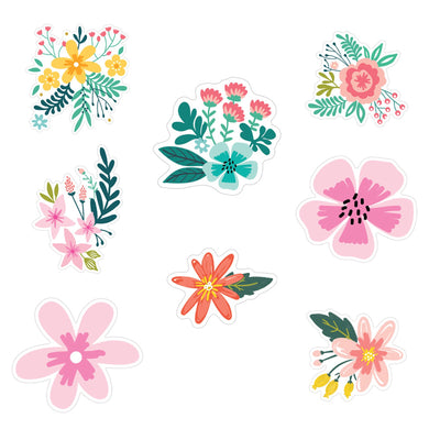 Rustic Floral Die Cut Vinyl Decal Stickers - 8 Pack