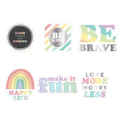 Happy Life Die Cut Vinyl Decal Stickers - 6 Pack