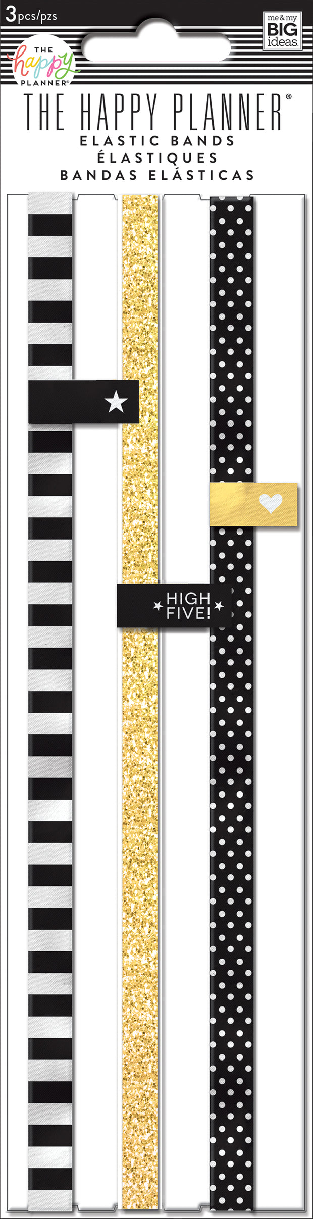 Black, White and Gold Elastic Bands - Classic