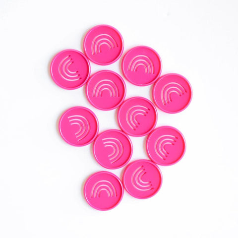 Rainbow Cutout Medium Disc Set - Bright Pink