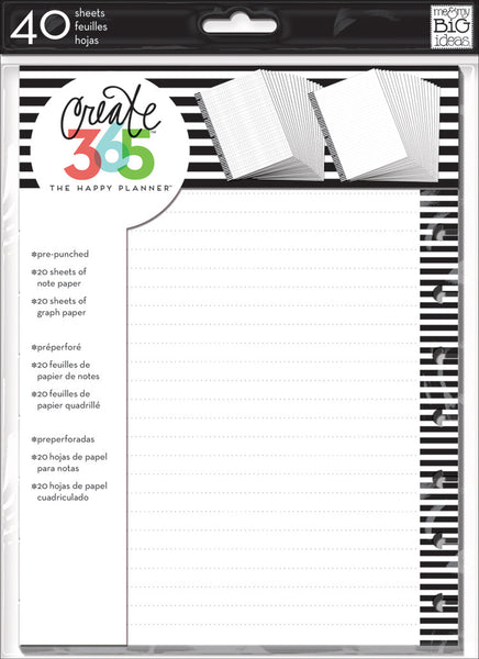 Note & Graph Paper - B&W stripes