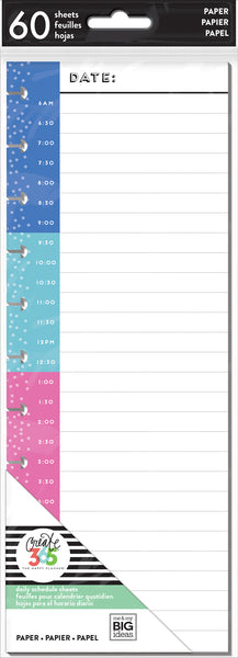 Daily Schedule - Half Sheet - BIG