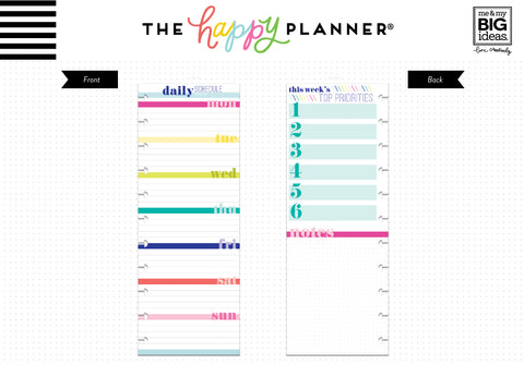 BIG Half Sheet Note Paper - Daily Schedule