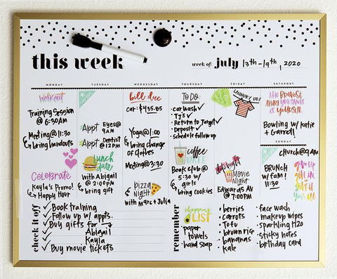 Weekly Dry Erase Board