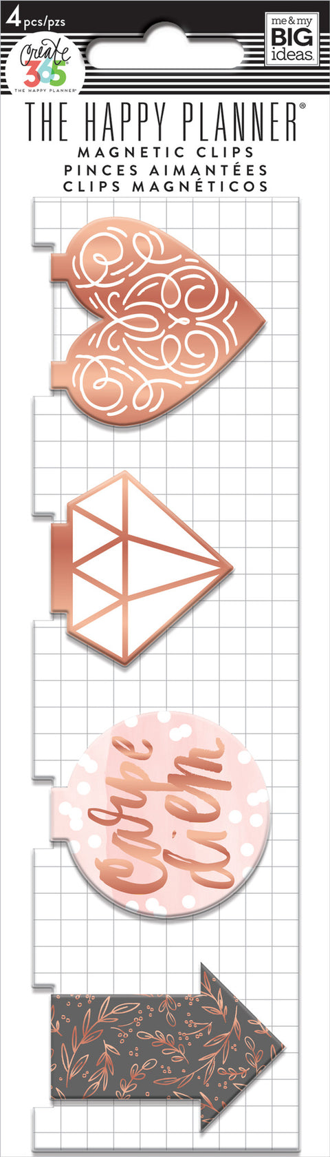 Magnetic Page Clips - Rose Gold - 4 Pack
