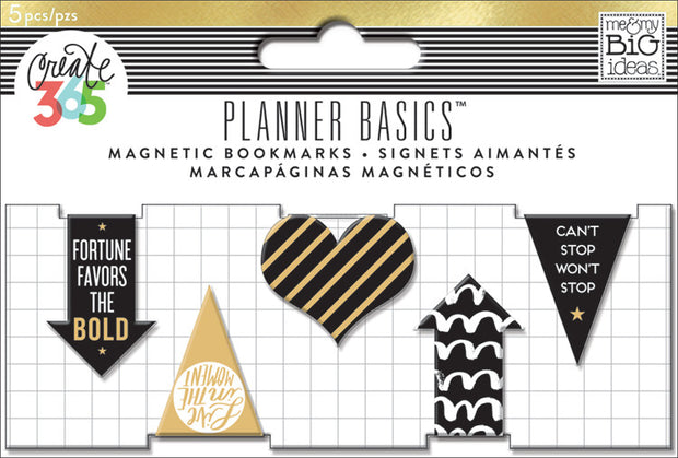 Magnetic Bookmarks - Black, White and Gold - 5 Pack