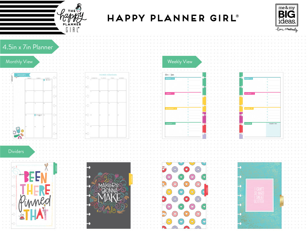 2019 deluxe mini 12 month planner miss maker checklist layout