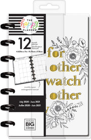 Mini Monthly Happy Planner® - Floral Line Art - 12 Months
