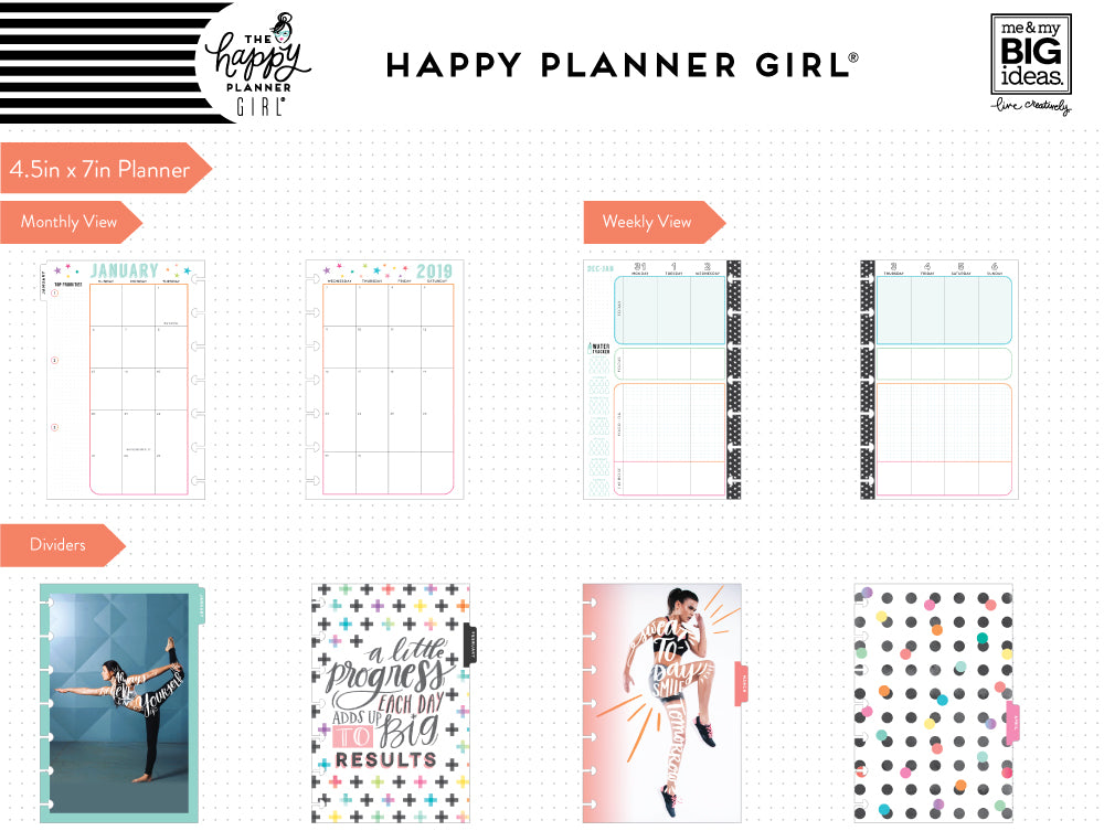 2019 deluxe mini 12 month planner healthy hero fitness layout