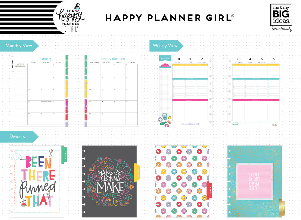 2019 deluxe classic 12 month planner miss maker checklist layout