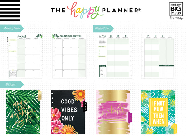 DELUXE 2018 - 2019 Classic Happy Planner® - Good Vibes Only - Student