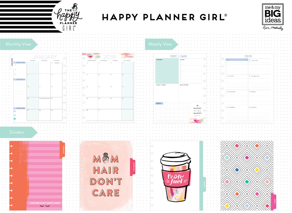 2019 deluxe classic 12 month planner super mom dashboard layout