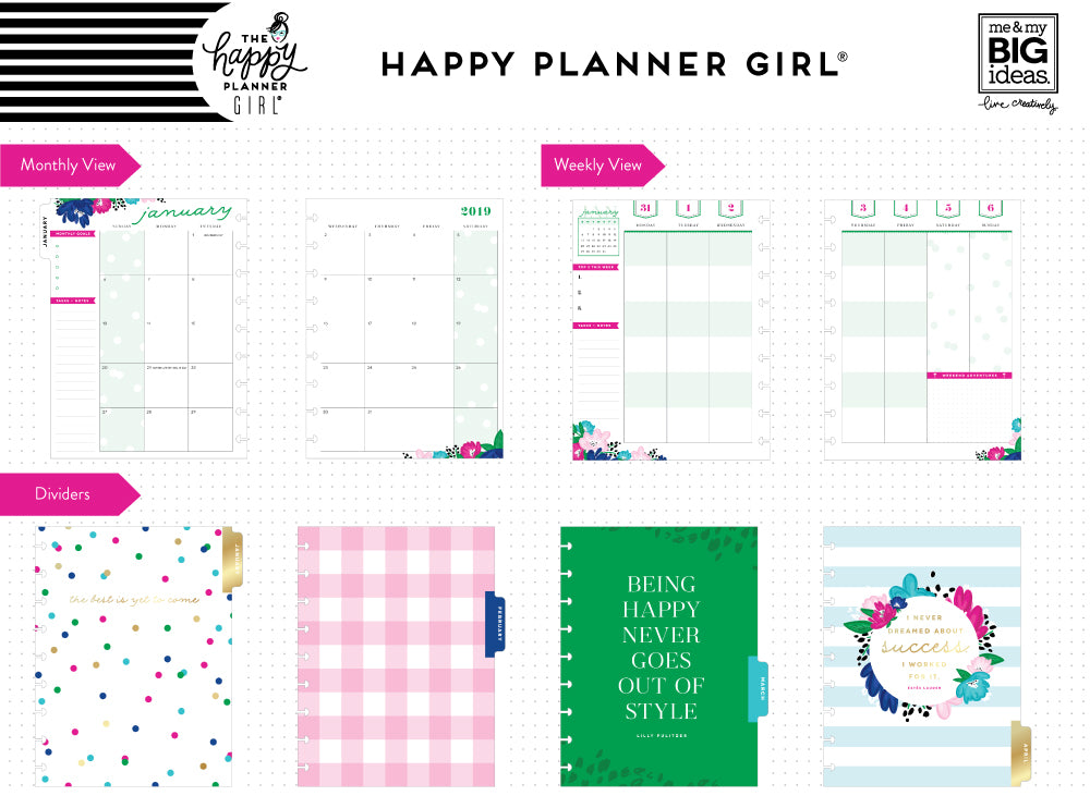 2019 deluxe classic 12 month planner socialite color block layout