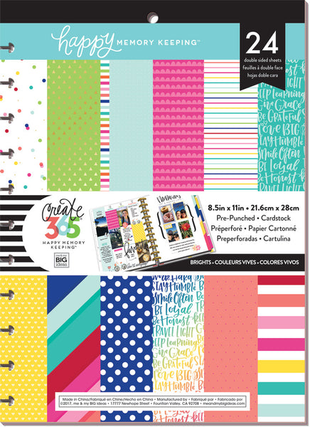 Happy Memory Keeping™ BIG Pre-Punched Cardstock Pad - Brights