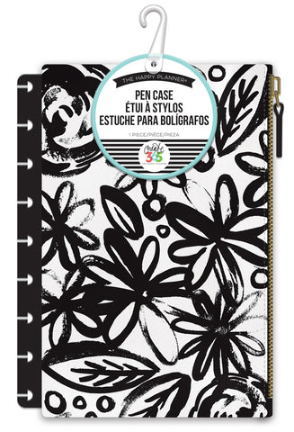 Snap In Pen Case - Black Flowers