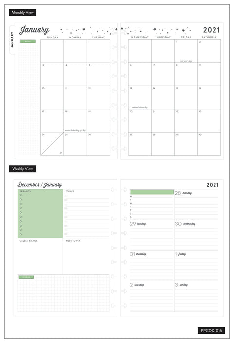 2021 Plant Your Dreams Classic Dashboard Happy Planner® - 12 Months