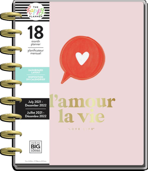2021 Love Life Classic Dashboard Happy Planner - 18 Months