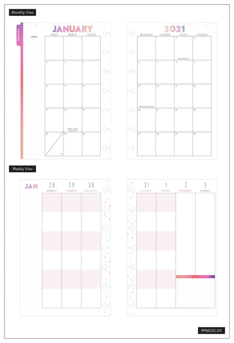 2021 Piece of Magic Mini Vertical Color Block Happy Planner® - 12 Months