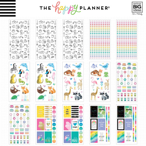 2x HAPPY PLANNER 100 SHEET MEGA STICKER BOOKS PASTEL AND BRIGHTS NEW