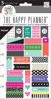 35//pkg Happy Planner Tiny Sticker Pad-bold And Bright