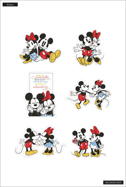 Mickey Mouse and Minnie Mouse Die Cut Vinyl Decal Stickers - 6 Pack