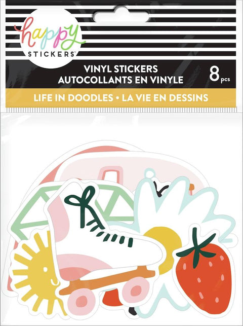 Life In Doodles Die Cut Vinyl Decal Stickers - 8 Pack
