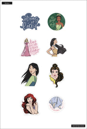 Disney © Princess Strong at Heart Die Cut Vinyl Decal Stickers - 8 Pack