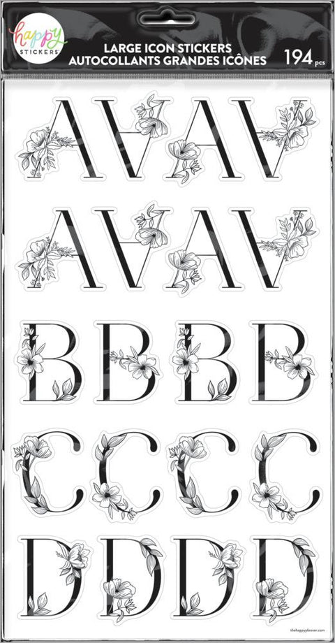 Sophisticated Florals Black Alphabet Stickers