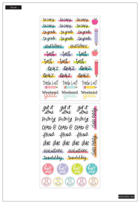 Dry Erase Decals - Teacher Schedule