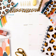 Rolled Weekly Dry Erase Calendar - Leopard