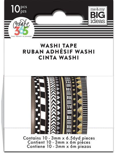 Black and White Skinny Washi Tape