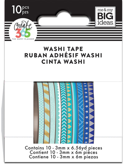 Blue Hues Skinny Washi Tape