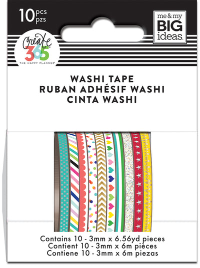 Brights Skinny Washi Tape