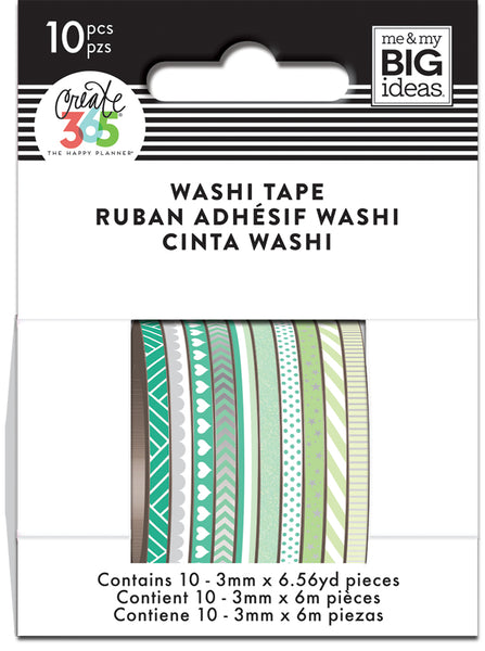 Green Hues Skinny Washi Tape