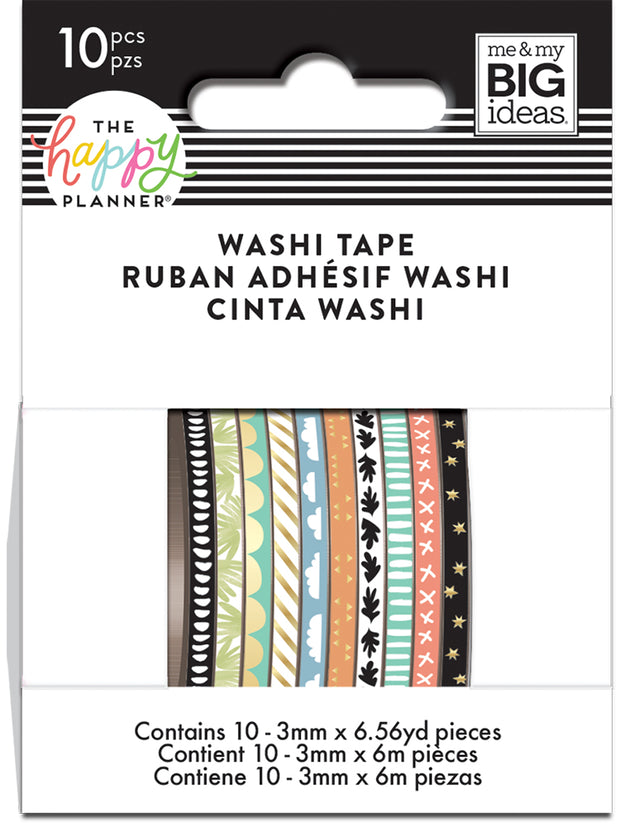 Skinny Washi Tape - Soft Hues