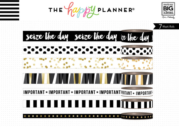 Washi Tape - Black, White and Gold