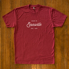 Load image into Gallery viewer, Made in Evansville, Indiana Script Tee - Red