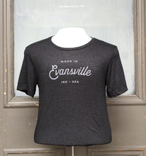 Load image into Gallery viewer, Made in Evansville, Indiana Script Shirt - Charcoal Grey