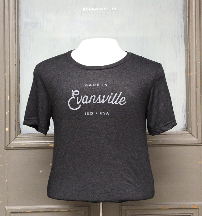 Made in Evansville, Indiana Script Tee - Charcoal Grey