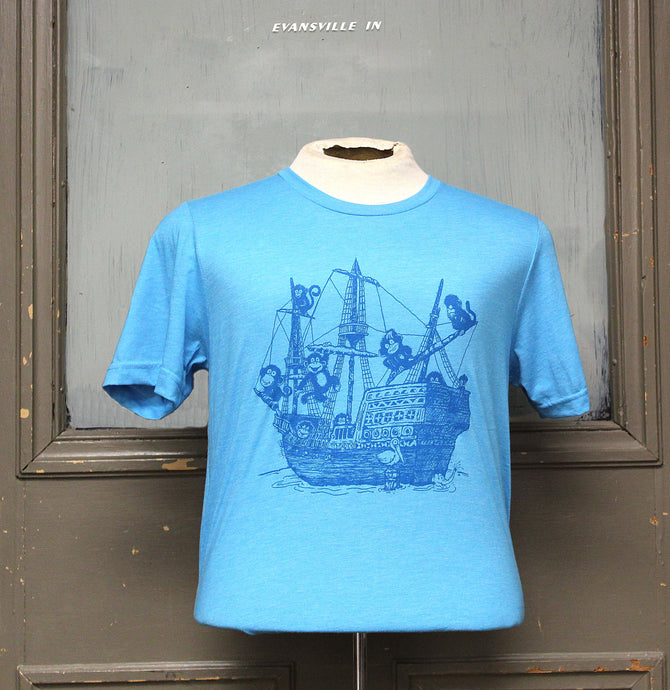 Monkey Boat Shirt - Blue