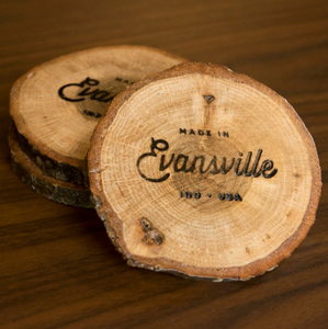 Made in Evansville Wood Slice Coaster