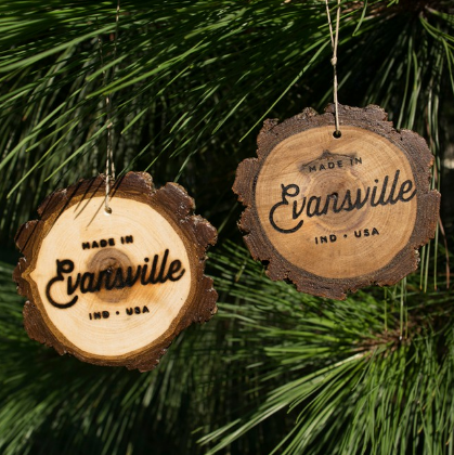 Made in Evansville Wood Slice Ornament