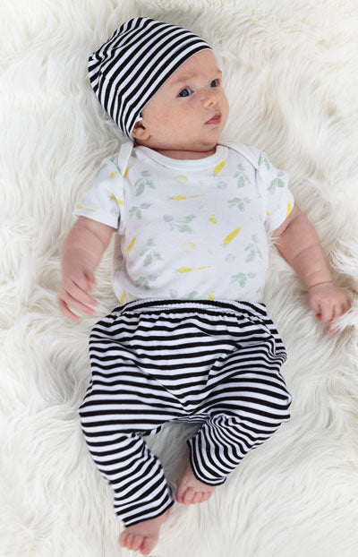 Baby Pants & Hat - Newborn Set | White With Black Stripe