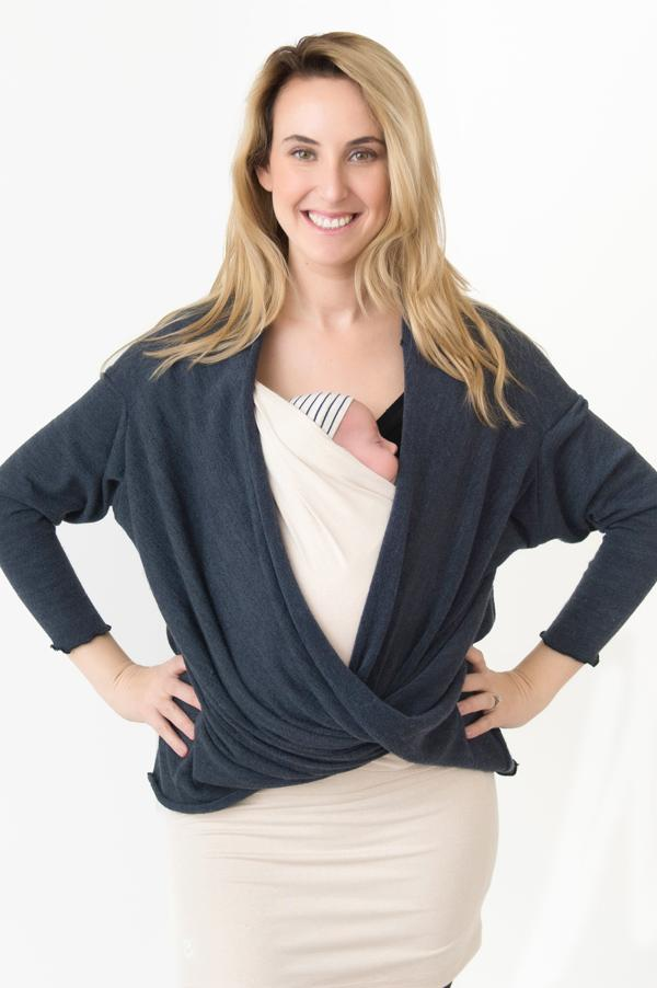 Blue Melange Sweater - Nesting Days, Cozy Sweater - Baby Carrier