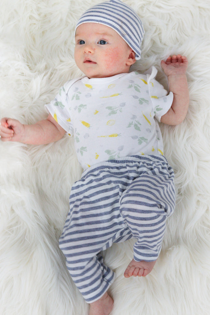 Baby Pants & Hat - Newborn Set | White With Grey Stripe